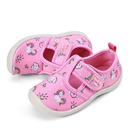 RANLY & SMILY Toddler Shoes Beach Sandals Girls Baby Cute Aqua Water Shoes for Beach Pink/White/Unicorn US 11 Little Kid -