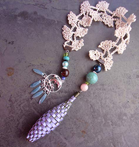 (Lavender Filled Woven Basket Bookmark Iris Blue Satin Ribbon With Beaded)