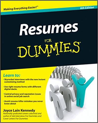 resumes for dummies joyce lain kennedy 9780470873618 amazoncom books - Resume For Dummies