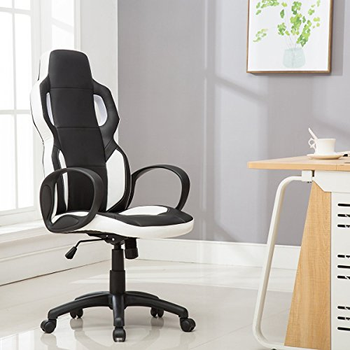 Sunmae High Back Leather Gaming Chair, Ergonomic office chair, Adjustable Computer Desk Swivel Chair - Black & White