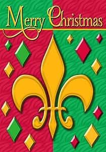 Fleur de lis Merry Christmas - Decorative Flag - Garden Size 12 Inch X 18 Inch