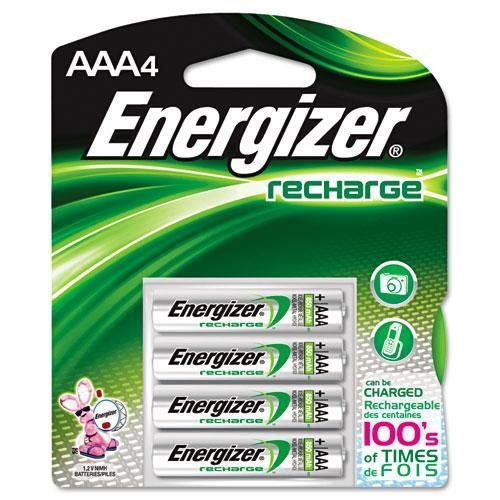 - Energizer NH12BP4 Rechargeable NiMH Batteries, AAA Size, 4/PK