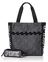Victorias Secret PINK Clay Grey Marl & Black Zip Tote Bag and Matching Tech Pouch with Silver Logo