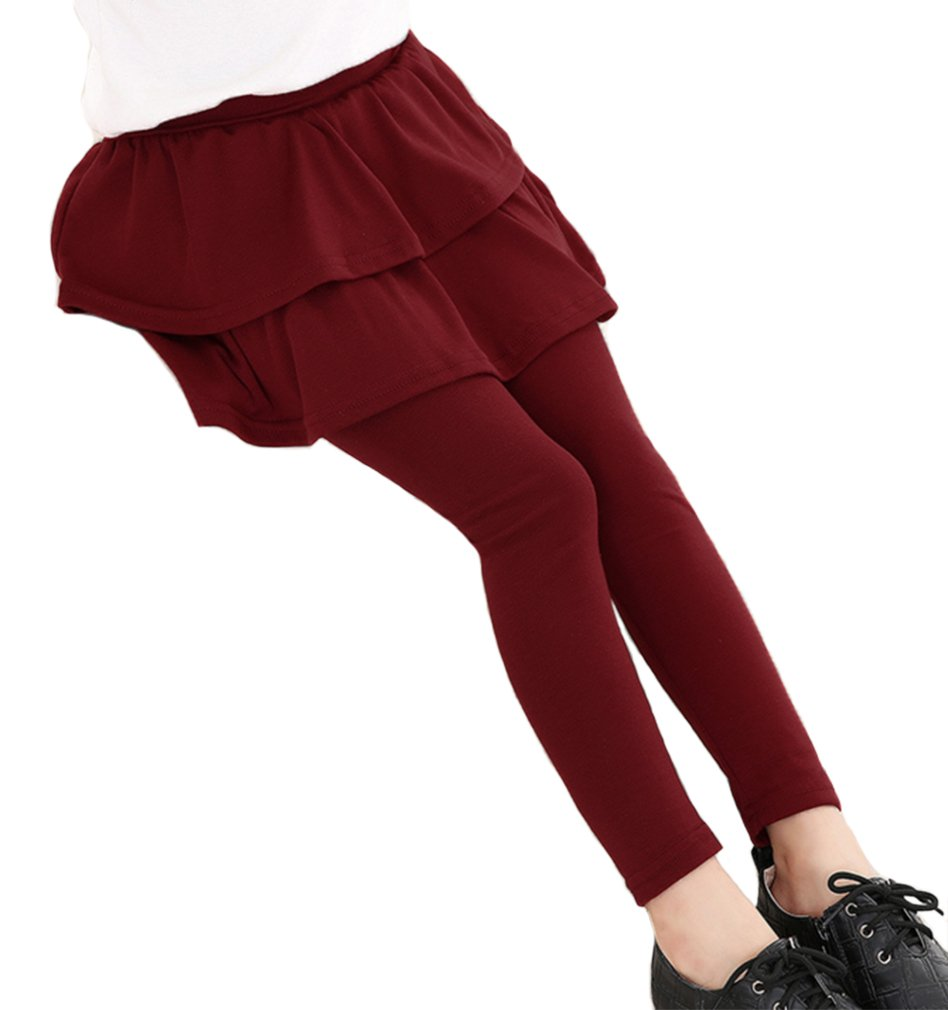 Swtddy Spring Autumn Toddler Girls Stretchy Leggings with Ruffle Tutu Skirt Pants (Wine Red, Tab Size 120(for Height 110-120cm))