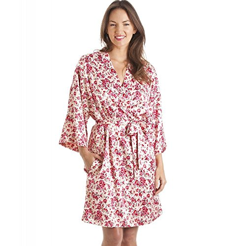 tessuto a in da e rosa camicia Set kimono vestaglia stylish Rosa notte floreale qxFwSz