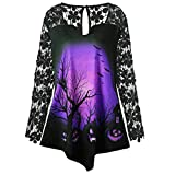 Halloween Clearance ! JSPOYOU Women Long Sleeve Fashion Pumpkin Lace Patchwork Asymmetrical Tops Blouse