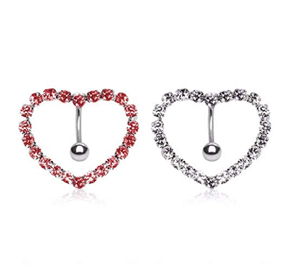Sold Piece Freedom Fashion 316L Surgical Steel Prong-Set Gemmed Heart Top Down Navel Ring