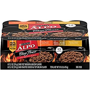 Purina ALPO Chop House Filet Mignon and Bacon Flavors/Roasted Chicken and Top Sirloin Flavors Wet Dog Food - 12-13.2 oz. Cans