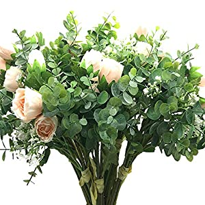 "Aisamco 2 Pcs Artificial Bouquet Assorted Flowers Fake Rose Baby's Breath Eucalyptus Branches 13.8"" Tall for Table Home Office Decor Wedding Floral Arrangement Bridesmaid Bridal Bouquet 11"