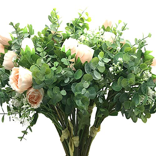 - Aisamco 2 Pcs Artificial Bouquet Assorted Flowers Fake Rose Baby's Breath Eucalyptus Branches 13.8