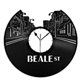 VinylShopUS Beale Street Vinyl Wall Clock Music Record Unique Gift Ideas Room Gift For Anniversary | Home Decoration
