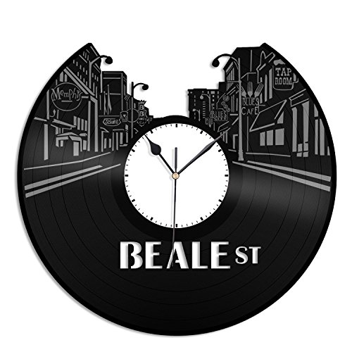 VinylShopUS - Beale Street Vinyl Wall Clock Music Record Unique Gift Ideas Room Gift for Anniversary | Home Decoration by VinylShopUS