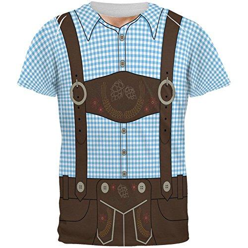 Oktoberfest Lederhosen Costume German Brown Suspenders All Over Mens T Shirt Blue 2XL (Costume Suspenders Old Man)