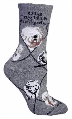 Old English Sheepdog on Gray Ultra Lightweight Cotton Crew Socks (One Size Fits Most) Made in USA