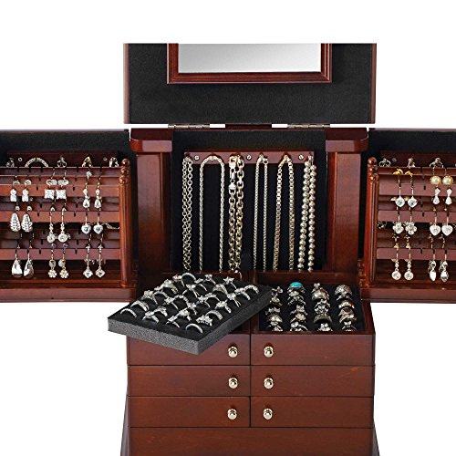 Amazon.com: Deluxe Wooden Jewelry Organizer Box Storage Cabinet Chest  Armoire Case: Home & Kitchen - Amazon.com: Deluxe Wooden Jewelry Organizer Box Storage Cabinet