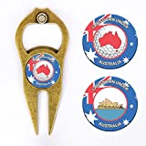 Hat Trick Openers Hat Trick 6 In 1 Golf Divot Tool & Poker Chip Set Australia Logo, Antique Brass