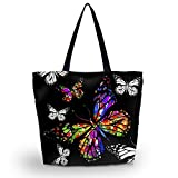Beach Tote Bags Travel Totes Bag Shopping Zippered Tote for Women Foldable Waterproof Overnight Handbag (Colorful Butterfly)