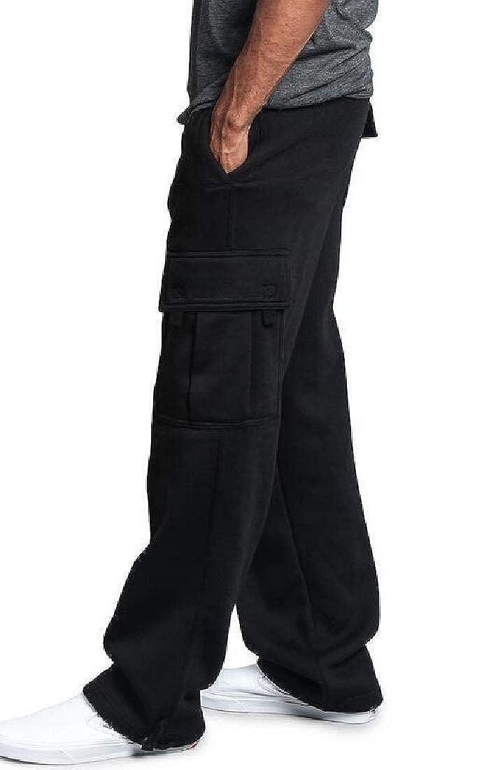 Lutratocro Men Elastic Waist Athletic Sport Casual Multi-Pocket Cargo Pants