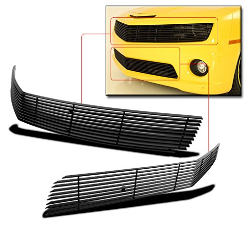 (ZMAUTOPARTS Chevy Camaro SS Front Upper+Bumper Lower Billet Grille Combo Phantom Black)