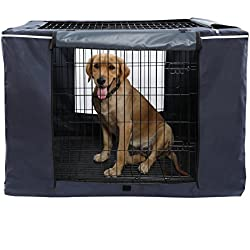 """Petsfit Oxford Cloth Pet Kennel Cover for Wire Dog Crates 42""""L x 28""""W x 30""""H, with Three-Side and Top Windows, Back Zipper, Dark Blue"""