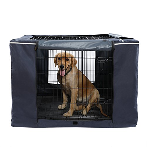 """Petsfit Oxford Cloth Pet Kennel Cover for Wire Dog Crates 42""""L x 28""""W x 30""""H, With Three-Side and Top Windows, Back Zipper, Dark Blue by Petsfit"""