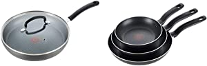 "T-fal Dishwasher Safe Cookware Fry Pan with Lid Hard Anodized Titanium Nonstick, 12-Inch, Black & Specialty 3 PC Initiatives Nonstick Inside and Out, 8"", 9.5"", 11"", Black"