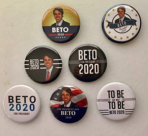 (Presidential Election Historical Center Beto O'Rourke 2020 Campaign Buttons Set of 6 + 1 Free - 2.25 inches)