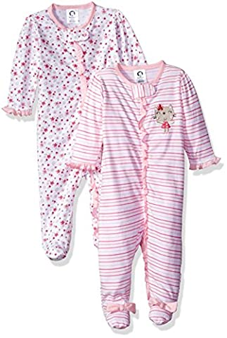 Gerber Baby Girls 2 Pack Zip Front Sleep 'n Play, Lilac Flowers, 0-3 Months (0 3 Months Baby Girl)