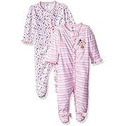 Gerber Baby Girls 2 Pack Zip Front Sleep 'n Play, Lil' Flowers, 3-6 Months