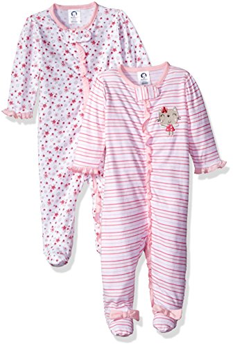 Gerber Baby Girls 2 Pack Zip Front Sleep 'n Play, Lil' Flowers, 0-3 ()