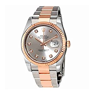 Rolex Oyster Perpetual Datejust Chocolate Floral Motif Dial Automatic Ladies Stainless Steel and 18kt Everose Gold Watch 116231CHFDAJ