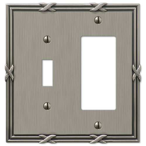 Amerelle 44TRAN Ribbon and Reed 1 Toggle/1 Rocker-GFCI Wallplate, Antique Nickel