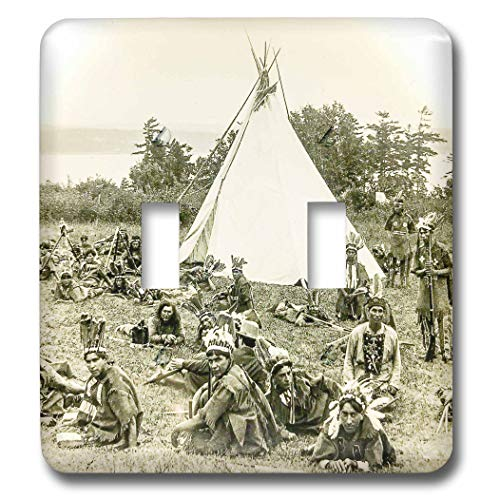 3dRose Scenes from the Past - Magic Lantern - Vintage Indians of Quebec Canada Circa 1910 Glass Slide Photo - Light Switch Covers - double toggle switch - Tee 1910