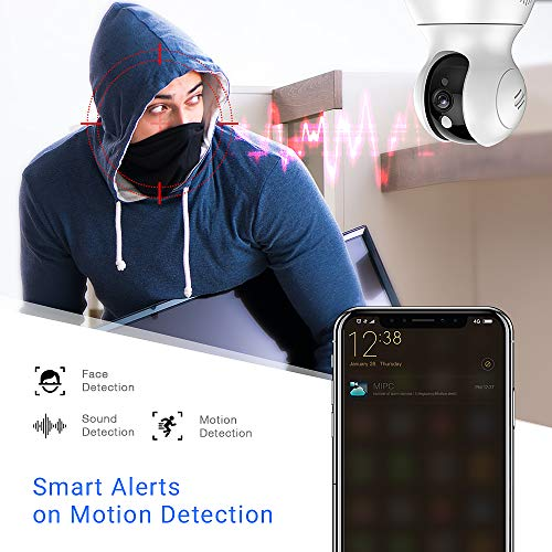 Tovendor 1080P WiFi Camera for Home Security, Indoor IP Camera with Microphone for 2-Way Audio, PTZ Pet Dog Camera with Motion Tracking Function (2MP+AI)
