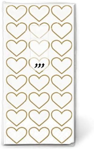 Lywedd® Taschentücher Herzen Alles Liebe 10 Stück Gold - Papiertaschentücher für die Freudentränen