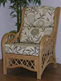 BAMBOO NATURAL - Replacement CUSHIONS ONLY for Cane CHAIR Conservatory Wicker & Rattan