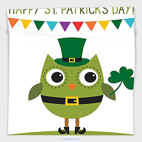 Vipsung Microfiber Ultra Soft Hand Towel-St. Patricks Day Decor Owl With Leprechaun Costume Greeting Design Party Shamrock White And Olive Green For Hotel Spa Beach Pool Bath - St George Costume Pattern