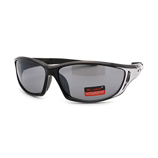 c6d25a01e8 Xloop Oval Rectangular Wrap Around Sports Shades Mens Sunglasses Black  Silver