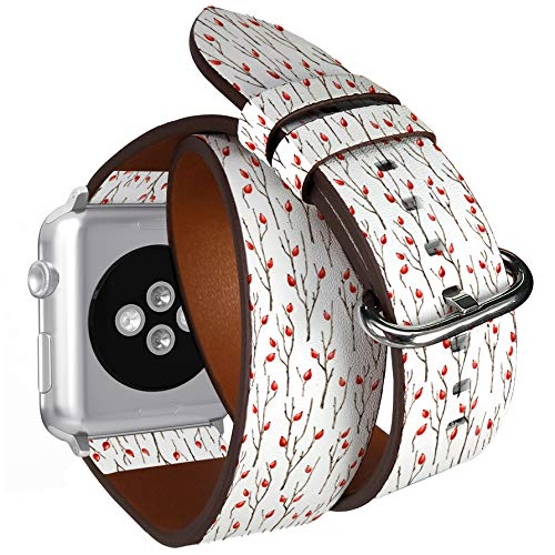 Compatible with Apple Watch (Big 42mm/44mm) Series 1,2,3,4 - Double Tour Bracelet Strap Wristband Smart Watch Band Replacement - Watercolor Botanical Briar