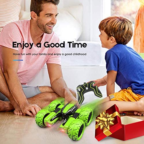 Amicool Remote Control Car, Hobby RC Car Stunt Car with LED Lights Electric 4wd 2.4Ghz Double Sided Rotating Racing Vehicle 360° Flips Offroad Kids Toy Cars for Boys Girls 8-12 Up Birthday Xmas Gift
