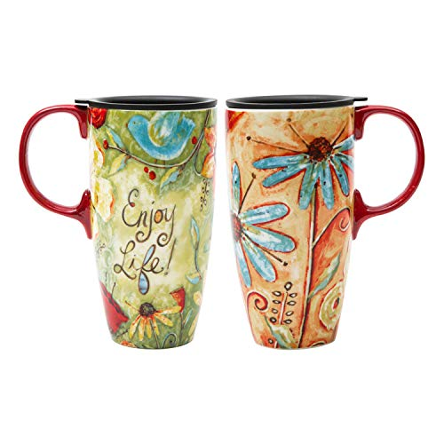 Travel Coffee Ceramic Mug Porcelain Latte Tea Cup With Lid in Gift Box 17oz. Flower Enjoy Life by CEDAR HOME, 2 Pack
