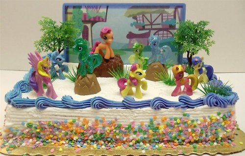 My Little Pony Birthday Cake Topper Featuring 10 Random Characters Trees Boulders Backdrop And Other Themed Decorative Pieces