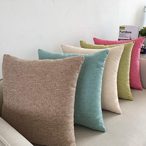 Comcomy Cotton Linen Solid Color Throw Pillow Square Decorative for Sofa Bed Car Creamy White, Pillow Core +Cover,18x18