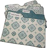 Recipe Box Tab Dividers, Teal and White Tabbed Dividers, 5.5 x 7 (7 x 5.5) Set of (6) STURDY Chipboard, Made to Order,