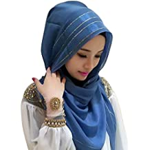 Cocohot Adjustable Colorful Scarf Hijabs Silk Bright Striped Bonnet Cap Bone Islamic Lady Head Cover