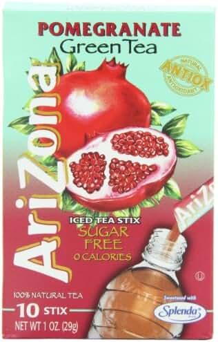 AriZona Pomegranate Green Tea Iced Tea Stix Sugar Free, 1-Ounce Boxes (Pack of 6)