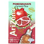 AriZona Pomegranate Green Tea Iced Tea Stix Sugar Free, Low Calorie Single Serving Drink Powder Packets, Just Add Water for a Deliciously Refreshing Iced Tea Beverage, 10 Count per box, Pack of 6 11 HAVE TEA WILL TRAVEL: Everything you love about AriZona Iced Tea now in convenient Stix you can take to go! AriZona Iced Tea Stix fit easily in your bag, purse or pocket. Add water for delicious pomegranate Green Tea in an instant, any time, anywhere. DRINK SUGAR FREE: AriZona Iced Tea Stix are sugar free and sweetened with Splenda, for a big taste that's light on calories. Just tip a single-serving packet into a 16 or 20 ounce bottle of crystal clear water, screw the cap back on, shake well and enjoy! TRY EVERY FLAVOR: Start with our Green Tea--then branch out! Get fruity with Pomegranate, Peach, and Lemon Tea. Tart it up with some Lemonade, or go half on an Arnold Palmer. Get amped with an Energy Shot, or take your drink to go with Iced Tea Stix