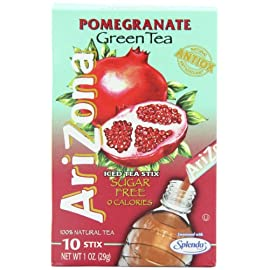 AriZona Pomegranate Green Tea Iced Tea Stix Sugar Free, Low Calorie Single Serving Drink Powder Packets, Just Add Water for a Deliciously Refreshing Iced Tea Beverage, 10 Count per box, Pack of 6 55 HAVE TEA WILL TRAVEL: Everything you love about AriZona Iced Tea now in convenient Stix you can take to go! AriZona Iced Tea Stix fit easily in your bag, purse or pocket. Add water for delicious pomegranate Green Tea in an instant, any time, anywhere. DRINK SUGAR FREE: AriZona Iced Tea Stix are sugar free and sweetened with Splenda, for a big taste that's light on calories. Just tip a single-serving packet into a 16 or 20 ounce bottle of crystal clear water, screw the cap back on, shake well and enjoy! TRY EVERY FLAVOR: Start with our Green Tea--then branch out! Get fruity with Pomegranate, Peach, and Lemon Tea. Tart it up with some Lemonade, or go half on an Arnold Palmer. Get amped with an Energy Shot, or take your drink to go with Iced Tea Stix