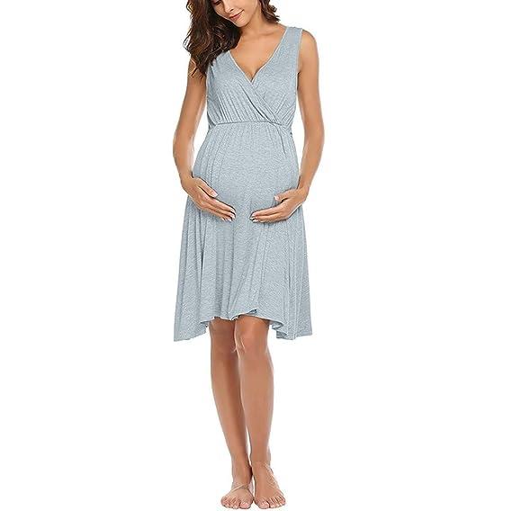 0ea64003e Vectry Ropas para Embarazadas Vestidos de Premama para Fiesta Vestido Rojo  Midi Vestidos Cortos Elegantes Vestidos Mujer Verano 2019 Casual Vestido   ...