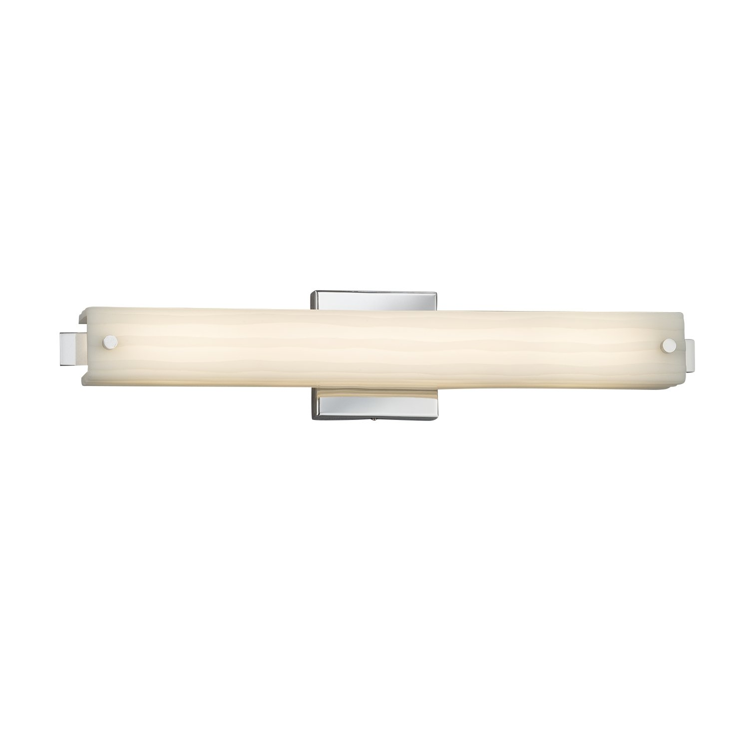 Brushed Nickel Finish Edge 23 LED Linear Wall//Bath Light Porcelina Faux Porcelain Shade with Waterfall Design